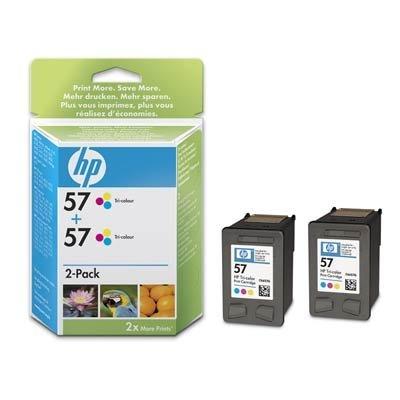 Картридж HP № 57 (C9503AE)  2 штуки, цветной (C9503AE)Картриджи для струйных аппаратов HP<br>2 картриджа повышенной емкости для печати больших объемов.<br>