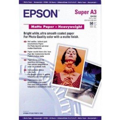 Бумага  EPSON (C13S041261 ) Matte Paper-Heavyweight бумага A3, 167 г/м2, 50 листов (C13S041261)Бумага для принтера Epson<br>Сделанные на данной бумаге отпечатки обладают повышенной светостойкостью.<br>