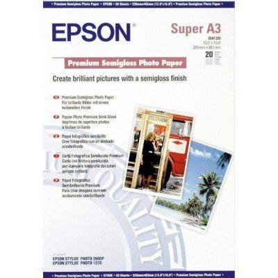 Бумага EPSON (C13S041328) Premium Semiglossy Photo бумага A3+, 251 г/м2, 20 листов (C13S041328), арт: 49919 -  Бумага для принтера Epson