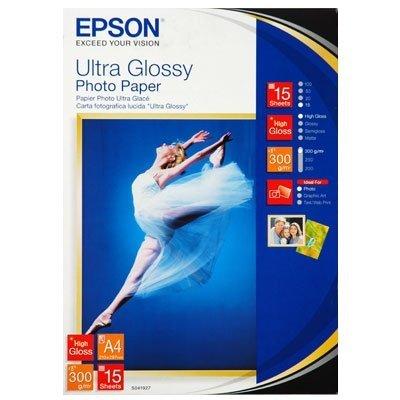 Бумага EPSON (C13S041927) Ultra Glossy Photo Paper A4, 300г/м2, бумага 15листов (C13S041927), арт: 49921 -  Бумага для принтера Epson
