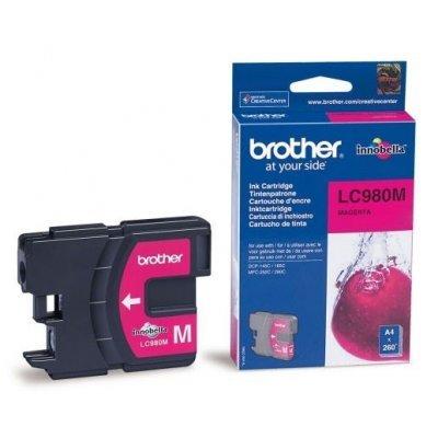Картридж (LC980M) Brother LC-980M пурпурный (LC980M)Картриджи для струйных аппаратов Brother<br>Струйный картридж для DCP145C/165C, MFC-250C Пурпурный, (до 260 страниц формата A4 в соответствии со стандартом ISO/IEC 24711)<br>