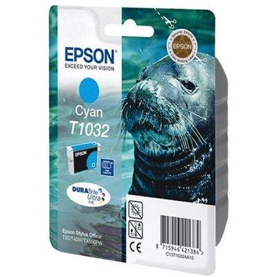 Картридж (C13T10324A10) EPSON T1032 для Stylus TX550W/Office T30/T40W/T1100/TX510FN/TX600FW голубой (C13T10324A10)Картриджи для струйных аппаратов Epson<br>Голубой картридж повышенной емкости Емкость 11.1мл<br>