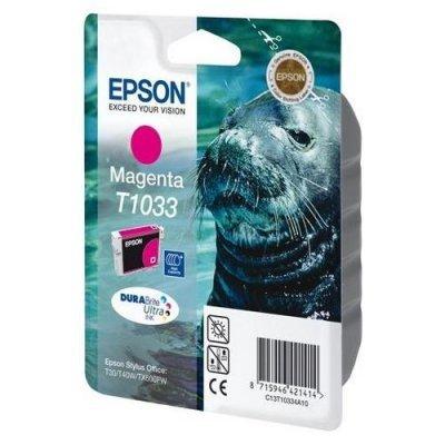 Картридж (C13T10334A10) EPSON T1033 для Stylus TX550W/Office T30/T40W/T1100/TX510FN/TX600FW пурпурный (C13T10334A10)Картриджи для струйных аппаратов Epson<br>Картридж повышенной емкости Емкость 11.1мл<br>