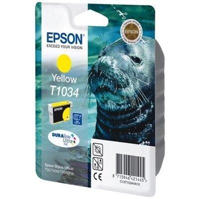 Картридж (C13T10344A10) EPSON T1034 для Stylus TX550W/Office T30/T40W/T1100/TX510FN/TX600FW желтый (C13T10344A10)Картриджи для струйных аппаратов Epson<br>Картридж повышенной емкости Емкость 11.1мл<br>для Stylus TX550W/Office T30/T40W/T1100/TX510FN/TX600FW<br>