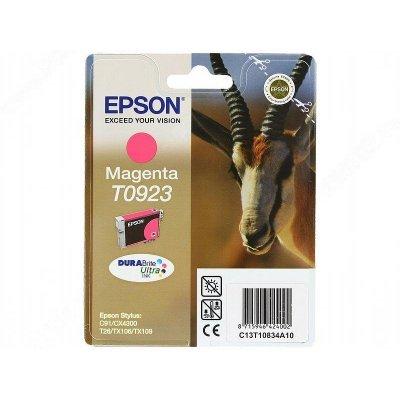 Картридж (C13T10834A10) EPSON T0923 для C91/CX4300 пурпурный (C13T10834A10)Картриджи для струйных аппаратов Epson<br>Емкость: 5,5 мл. Для C91 / CX4300 / T26 / TX106 / TX109<br>