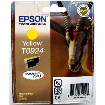 Картридж (C13T10844A10) EPSON T0924 для C91/CX4300 желтый (C13T10844A10)Картриджи для струйных аппаратов Epson<br>Емкость: 5,5 мл., для C91/CX4300 желтый<br>