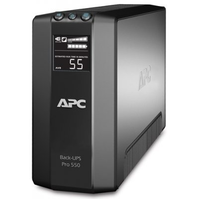 Источник бесперебойного питания APC Power-Saving Back-UPS Pro 550 (BR550GI)Источники бесперебойного питания APC<br>550VA/330W, 230V, LCD, AVR, Master Control, USB Interface, 6 out(3+3), Data line surge protection, user repl. batt., PC<br>