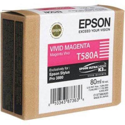 Картридж (C13T580A00) EPSON Stylus Pro 3880 насыщенный пурпурный (C13T580A00)Картриджи для струйных аппаратов Epson<br>80мл<br>