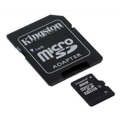 Карта памяти Kingston 8Gb microSDHC Class 4 + ADP (SDC4-8GB) (SDC4-8GB)Карты памяти Kingston<br>Объем памяти этой карточки позволит Вам хранить множество информации на своем устройстве.<br>