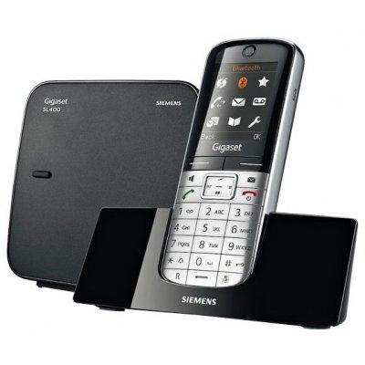Радиотелефон Siemens Gigaset SL400 (GIGASET SL400)Радиотелефоны Siemens<br>DECT, до 6 тр, тонкий корпус, пам. 500 ном, цветн. Диспл., CLIP, SMS, Bluetooth, USB, спикерфон, виброзвонок (серебристо-чёрный)<br>