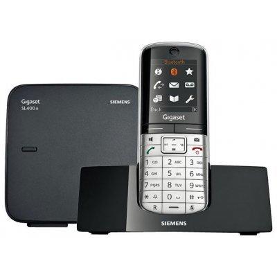 Радиотелефон Siemens Gigaset SL400A (GIGASET SL400A)Радиотелефоны Siemens<br>DECT, до 6 тр,  тонкий корпус, пам. 500 ном, а/о 45 мин., запись звонков,  цветн. Диспл., CLIP, SMS, Bluetooth, USB, спикерфон,  виброзвонок (серебристо-чёрный)<br>
