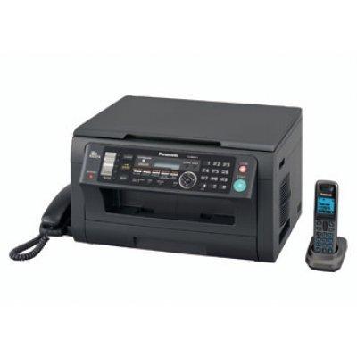 Лазерное МФУ Panasonic KX-MB2051RU-B (KX-MB2051RU-B)Монохромные лазерные МФУ Panasonic<br>МФУ (Факс лазерный 33600 бит/с,  АОН, принтер, планшетный копир, цветной сканер,  телефон с трубкой + радиотрубка+АО (30 мин.), PC-факс, 24 стр/мин., 32Мб, USB 2.0, Ethernet) (чёрный)<br>