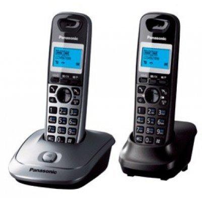 Радиотелефон Panasonic KX-TG2512RU2 (KX-TG2512RU2)Радиотелефоны Panasonic<br>DECT, 2 р.т., АОН, дисплей, подсветка дисплея,часы, 50 ном., полифония, спикерфон (база титан + трубка серебристая )<br>