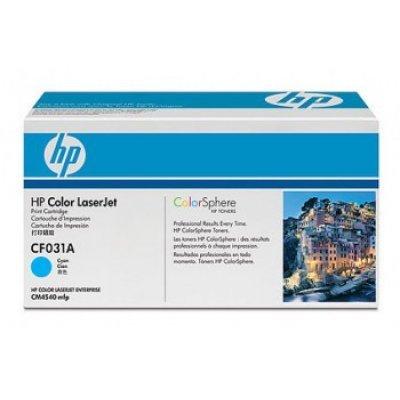 Картридж HP (CF031A) голубой для CM4540 (CF031A)Тонер-картриджи для лазерных аппаратов HP<br>12500 страниц, голубой<br>