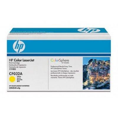 Картридж HP (CF032A) желтый для CM4540 (CF032A)Тонер-картриджи для лазерных аппаратов HP<br>12500 страниц, желтый<br>