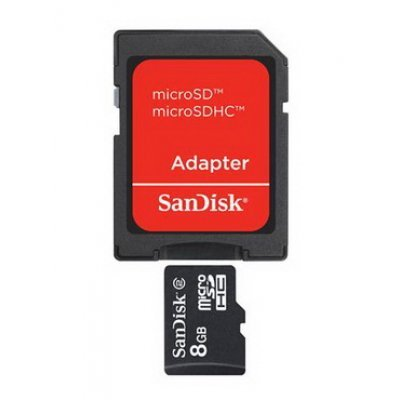 Карта памяти SanDisk 8Gb microSDHC class 4 SDSDQM-008G-B35A (SDSDQM-008G-B35A)Карты памяти Sandisk<br>+ adapter  (SDSDQM-008G-B35A)<br>