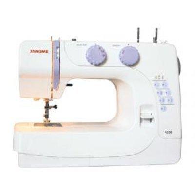 Швейная машина Janome VS50 (VS50)Швейные машины Janome<br>электромеханическая швейная машина, 8 швейных операций, полуавтоматическая обработка петли, рукавная платформа, отсек для аксессуаров<br>