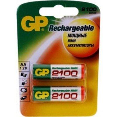 Аккумулятор GP AA 2100mAh (2шт) (210AAHC-U2) аккумуляторная батарейка аа gp smart energy 100aahcsv aa nimh 1000mah 2шт gp 100aahcsv 2cr2