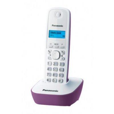 Радиотелефон Panasonic KX-TG1611 фиолетовый (KX-TG1611RUF)Радиотелефоны Panasonic<br>комплект из базы и трубки; стандарт DECT; определитель номеров (АОН/Caller ID); аккумуляторы: AAAx2; монохромный дисплей на трубке;<br>