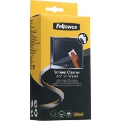 Набор для чистки экранов Fellowes FS-99701 (FS-99701)Наборы для чистки экранов Fellowes<br>Спрей Fellowes эффективно удаляет загрязнения, а его антистатические свойства  предотвращают накопление грязи и пыли. Спрей не содержит спирта, дерматологически безопасен и не оставляет разводов. Состав комплекта: 125мл. чистящего спрея и 20 абсорбирующих сухих салфеток.<br>