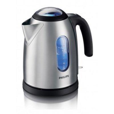 Электрический чайник Philips HD4667 (HD4667)Электрические чайники Philips<br>чайник, объем 1.7 л, мощность 2400 Вт, закрытая спираль, установка на подставку в любом положении, стальной корпус, индикация включения<br>